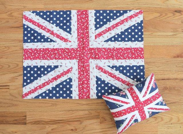 Union Jack quilt block sizes