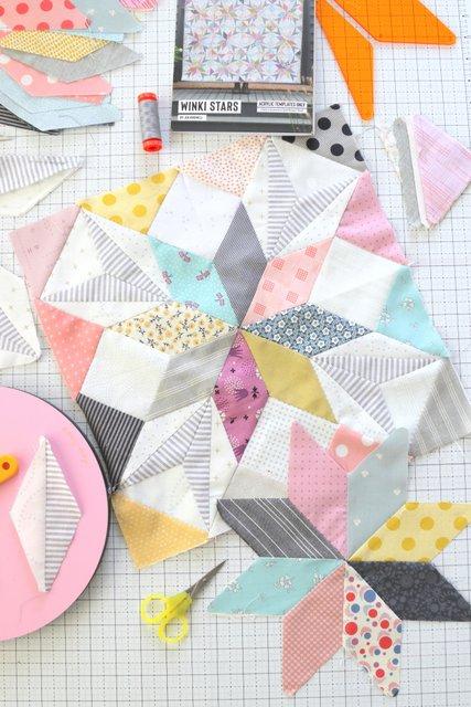 Hand-pieced Winki Star Quilt pattern by Jen Kingwell
