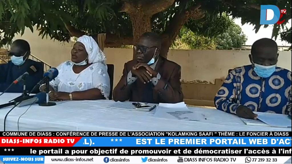 Commune de Diass: Conférence de Presse de l'association «kolamking saafi» Thème: Le foncier à Diass