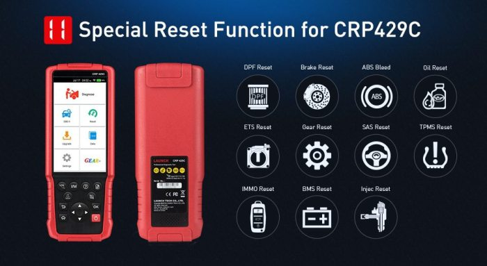 Launch CRP429C 4 Systems Diagnostic Tool Special Functions