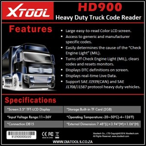 XTOOL HD 900 Heavy Duty Truck Diatools 1D
