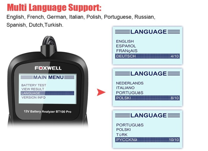 Foxwell BT100 12V Car Battery Analyzer Language Support