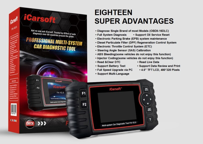 iCarsoft FA V2.0 Diagnostic Tool for Fiat/Alfa Romeo Advantages