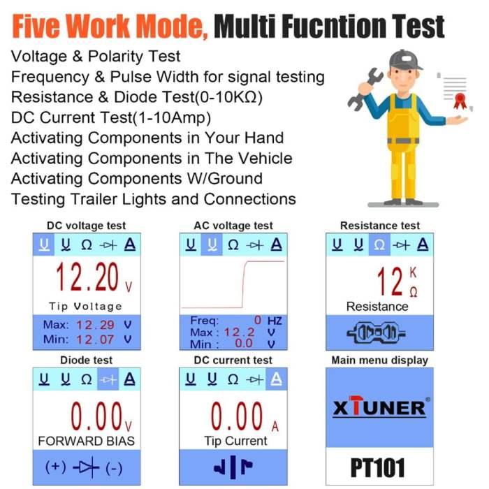 XTUNER PT101 12V/24V Power Probe Circuit Tester Multi Functions Tests