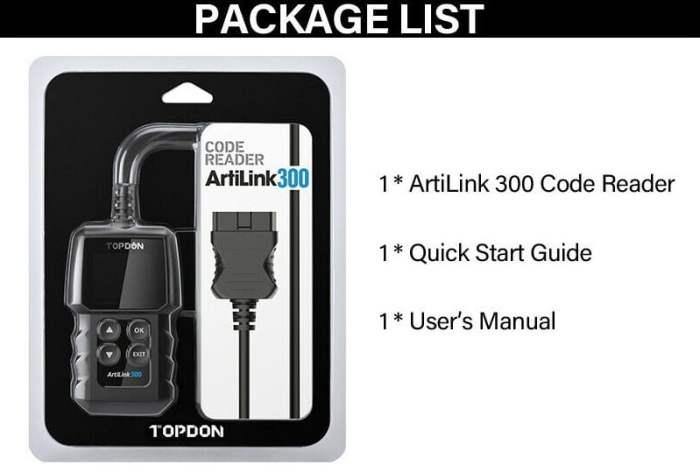 TOPDON ArtiLink 300 Automotive OBDII Engine Code Reader Package