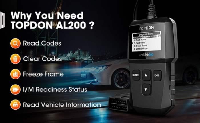 TOPDON ArtiLink 200 OBD2 Engine Diagnostic Tool