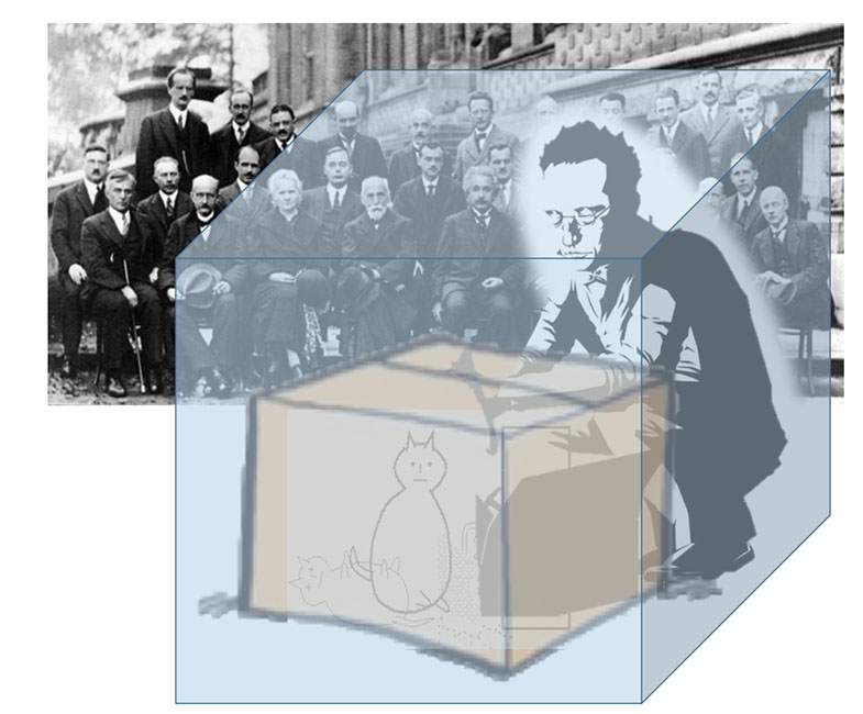 . Depiction of Schrodinger and the physic community contemplating the state of knowledge of the cat