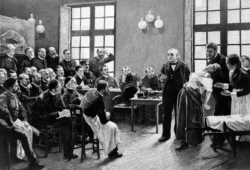 Jean-Martin Charcot demonstrating hysteria in a patient. Image