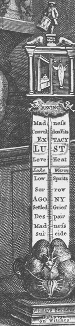 Thermometer detail from Hogarth's Credulity, Superstition and Fanaticism. A Medley. Detail