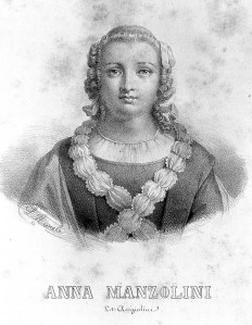 Portrait of Anna Manzolini. Lithograph by L. Aurele, n.d. 18th century, image