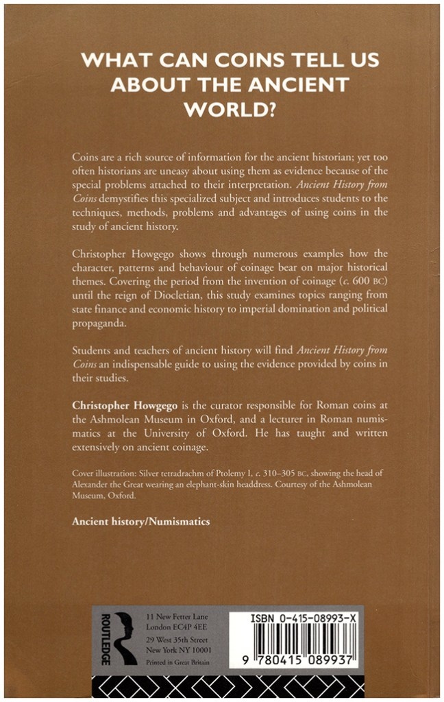 Ancient History From Coins (Approaching the Ancient World), back cover