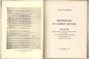 MONTESQUIEU et l'Esprit des Lois: Exposition, title page