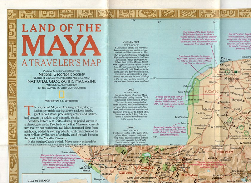 Land of the Maya: A Traveler's Map (National Geographic Poster/Map) (30490)