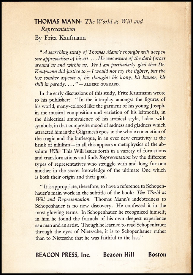 Back Cover. Thomas Mann: The World as Will and Representation (30495)