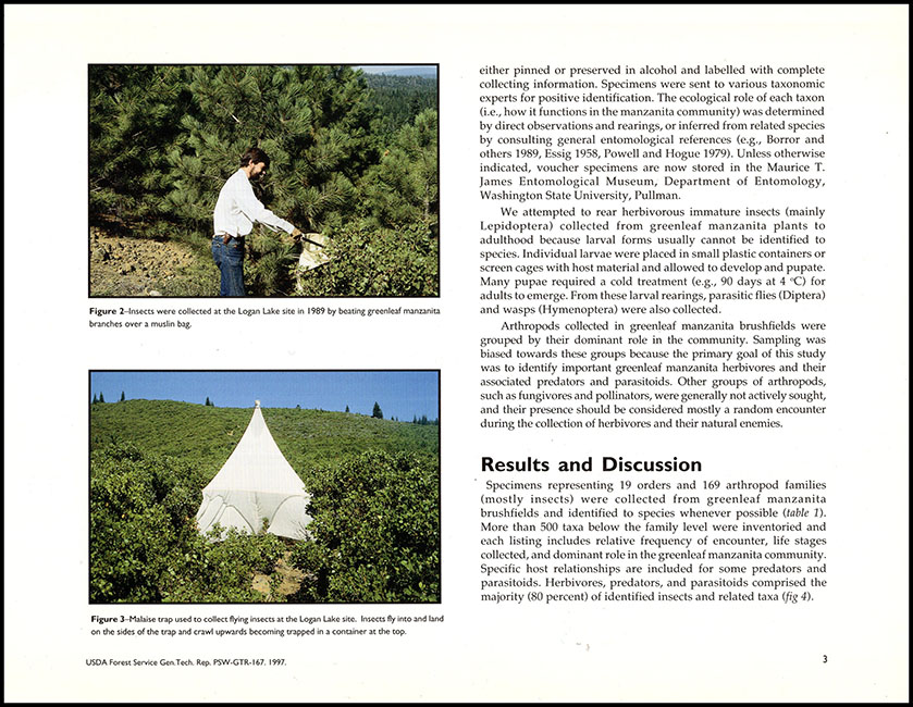 Inside page: Insects and Related Arthropods Associated with Greenleaf Manzanita in Montane Chaparral Communities of Northeastern California (General Technical Report PSW)