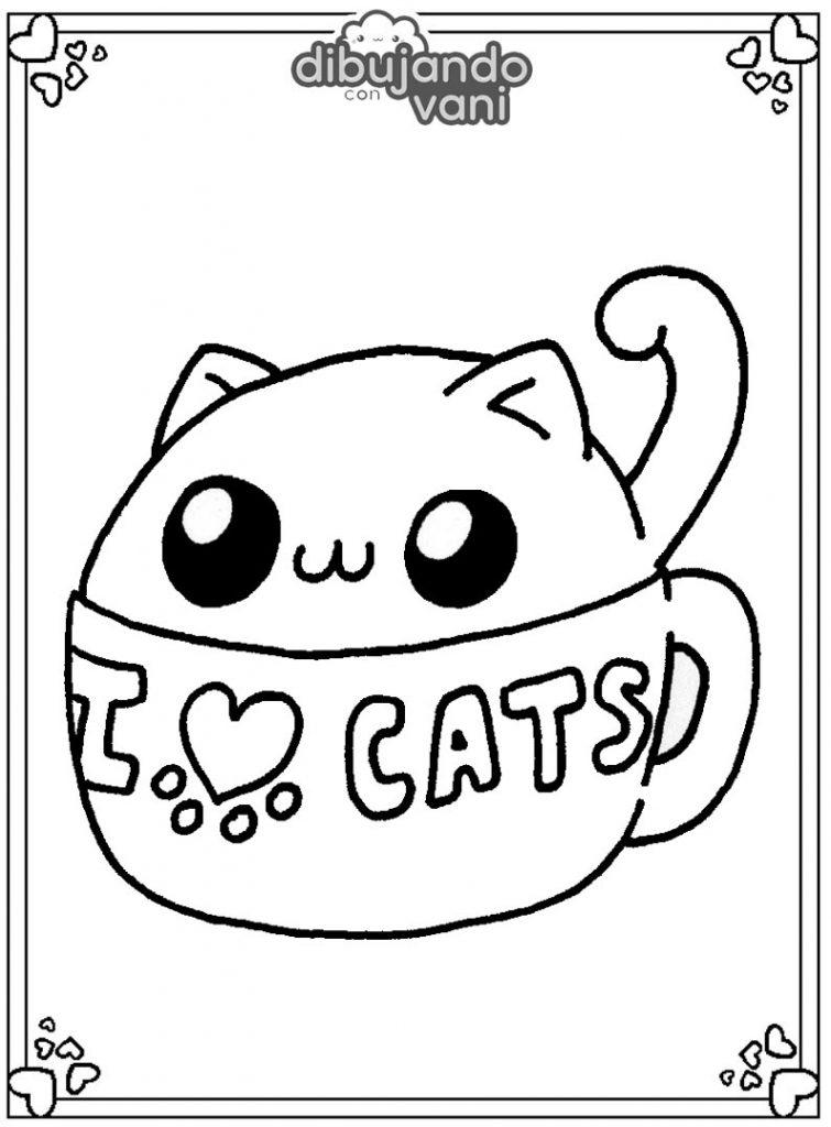 Dibujo de un gato en taza para imprimir y colorear