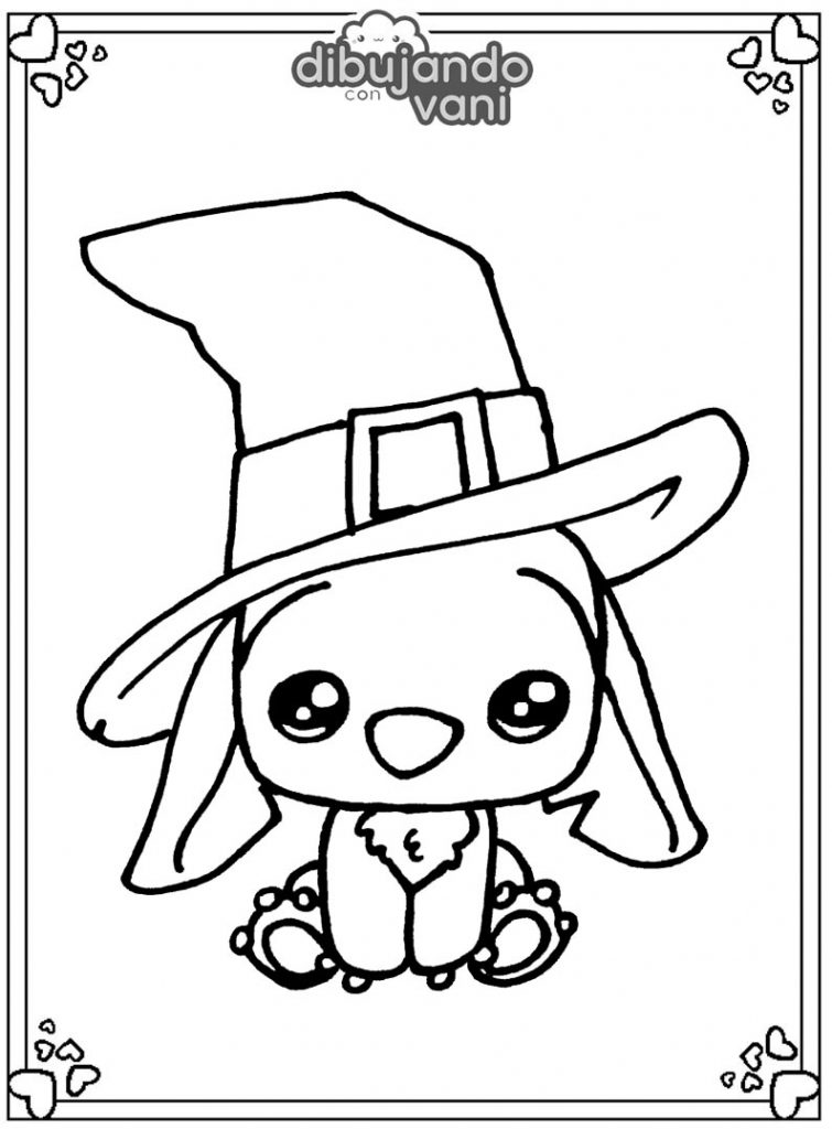 Dibujo de Stitch de Halloween kawaii para imprimir
