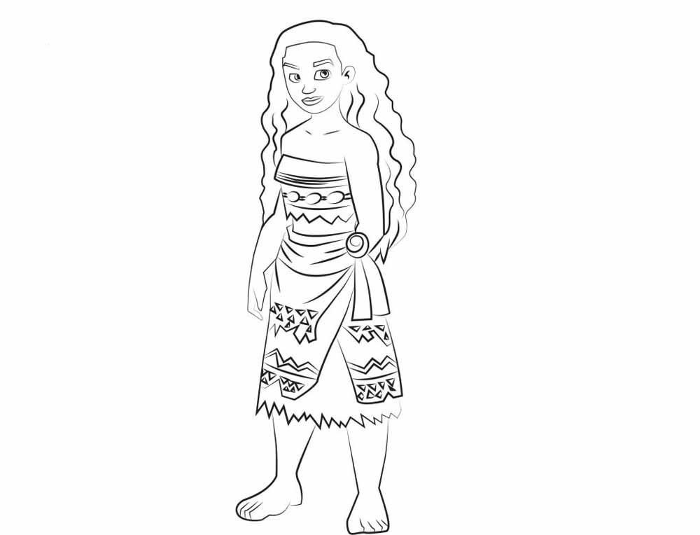 Dibujo De Princesa Moana Vaiana Waialiki Para Colorear Dibujos