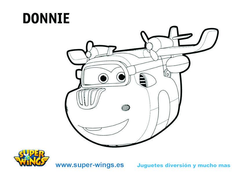 Plantilla colorear Super Wings: Donnie