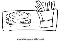 UNA HAMBURGUESA CON PATATAS FRITAS | Dibujos para colorear