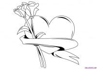 Imgenes de rosas con corazones para colorear - Imagui