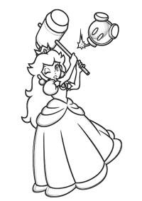 Dibujos de Princesa Peach Con Martillo para Colorear