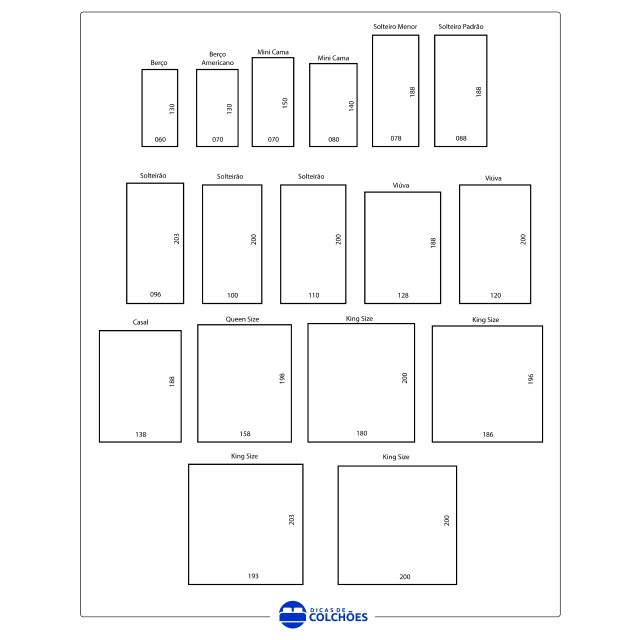 17 tamanhos de colchões