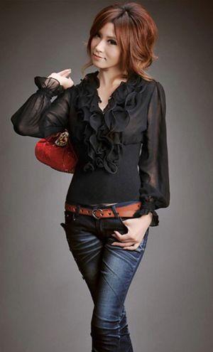 Camisas Femininas com Babado 8 Moda de Camisas Femininas com Babado