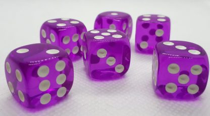 RPG Wuerfel Set D6 16mm Transparent Purple
