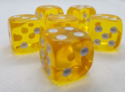 RPG Wuerfel Set D6 16mm Transparent Yellow