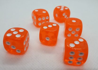 RPG Wuerfel Set D6 16mm Transparent orange
