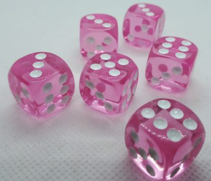 RPG Wuerfel Set D6 Transparent Pink