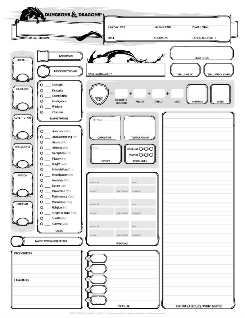 D Amp D 5e Character Sheet Dicegeeks