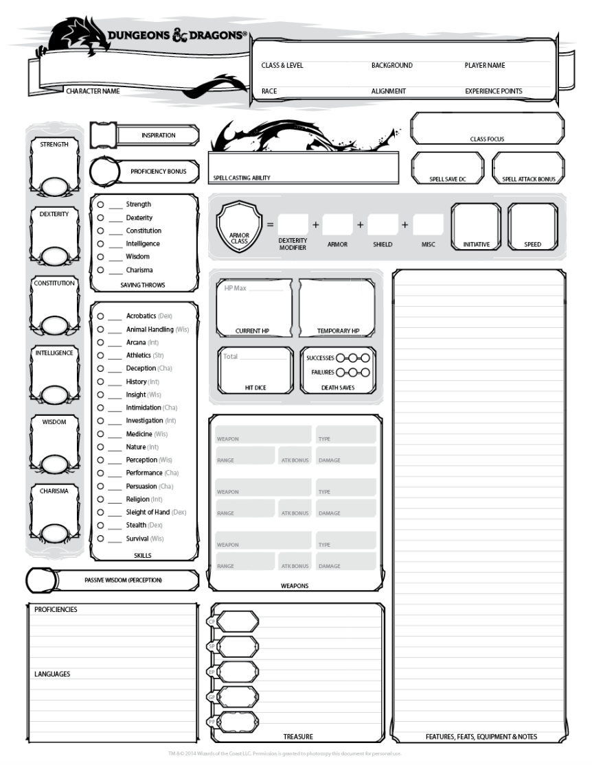 Adorable image within dungeons and dragons character sheet printable