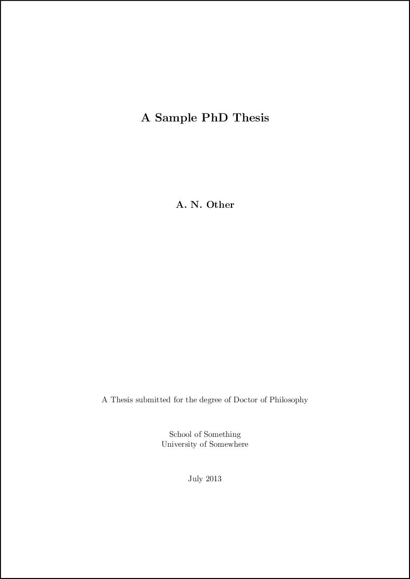 Dissertation style latex