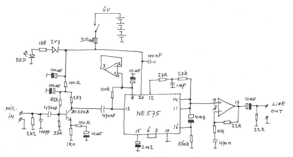 medium resolution of microphone preamplifier with audio compressor midi circuit diagram mic compressor circuit diagram