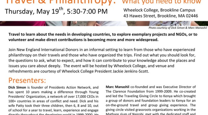 Upcoming Travel and Philanthropy Presentation – How to have great experiences and major impact!