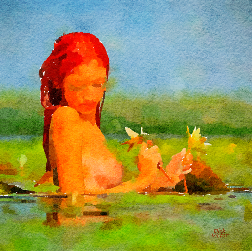 digital painting of naked woman in water and lillies.