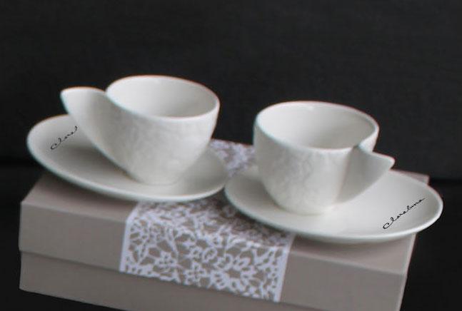 Set 2 tazze da caff in porcella avorio con decoro motion