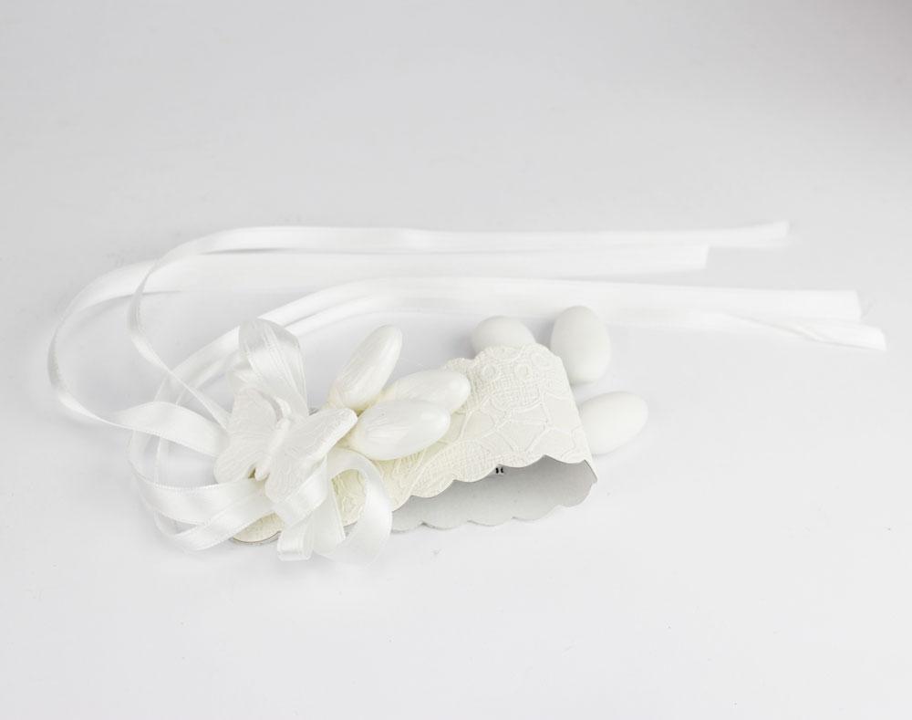 Porta Tovagliolo Segnaposto con 3 confetti farfalla