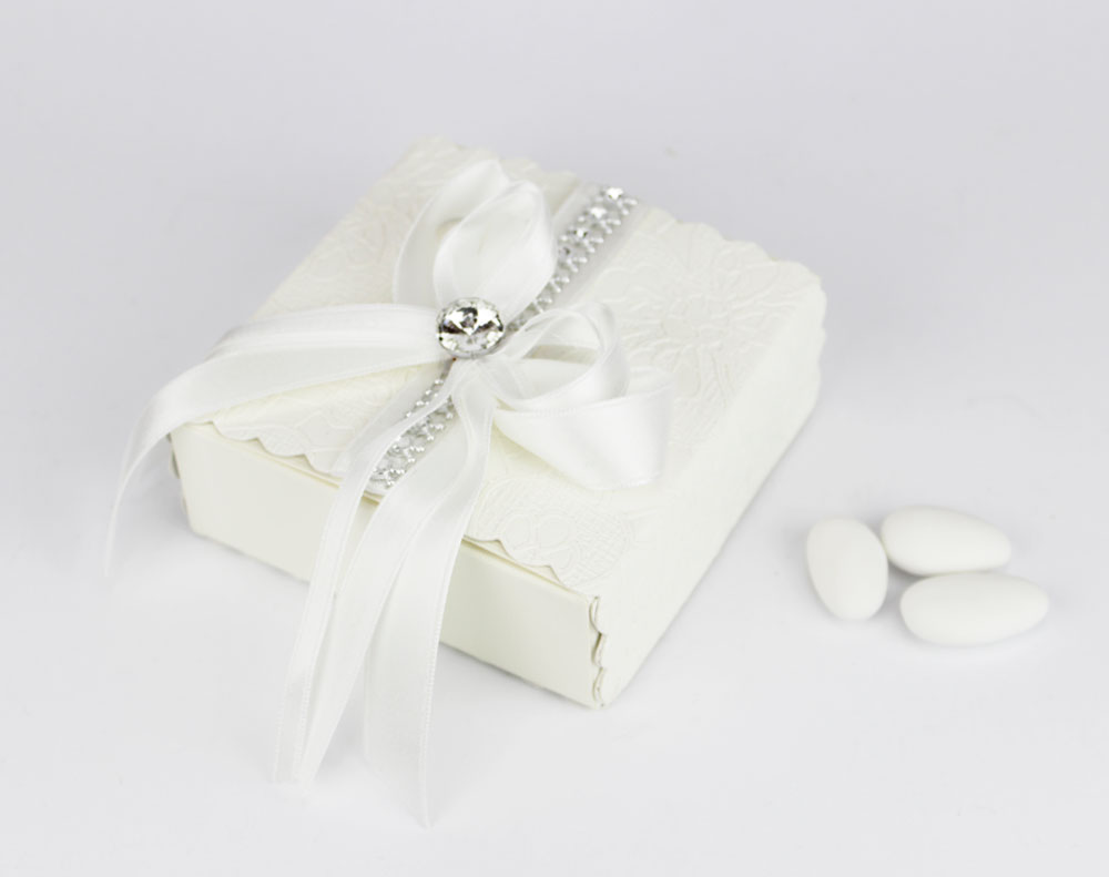Scatola porta confetti con strass bomboniere Matrimonio