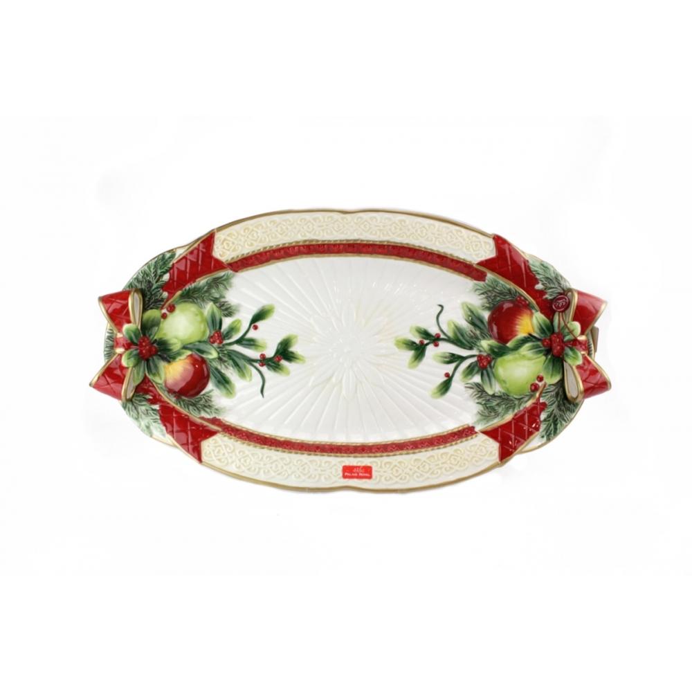 Piatto ovale con fiocchi in porcellana