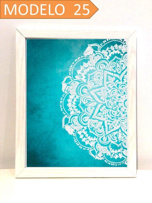 Cuadro impreso con media mándala. Elige dimensión, color del marco y ...