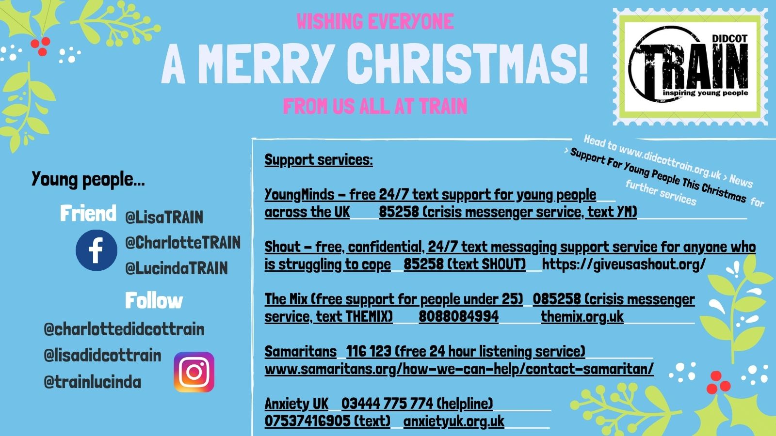 Support for young people this Christmas