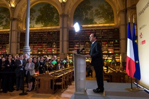 François Hollande, inauguration des espaces rénovés BNF Richelieu