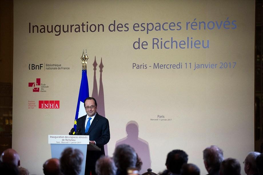 François Hollande. Inauguration des espaces rénovés BNF Richelieu 11 janvier 2017
