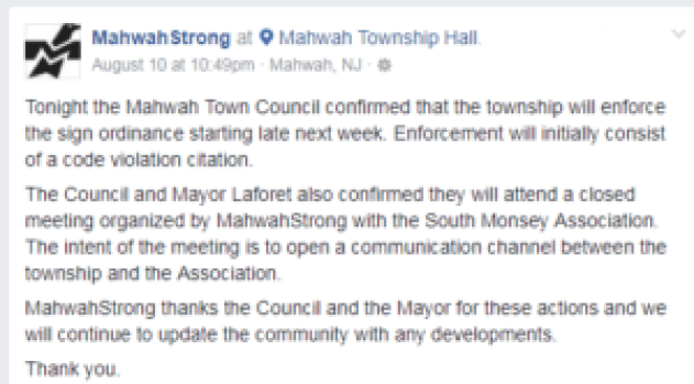 Mahwah Strong statement after summonses were announced