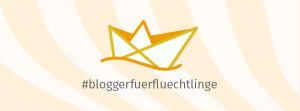 Ein Papiersegelboot darunter das Hashtag bloggerfuerfluechtlinge
