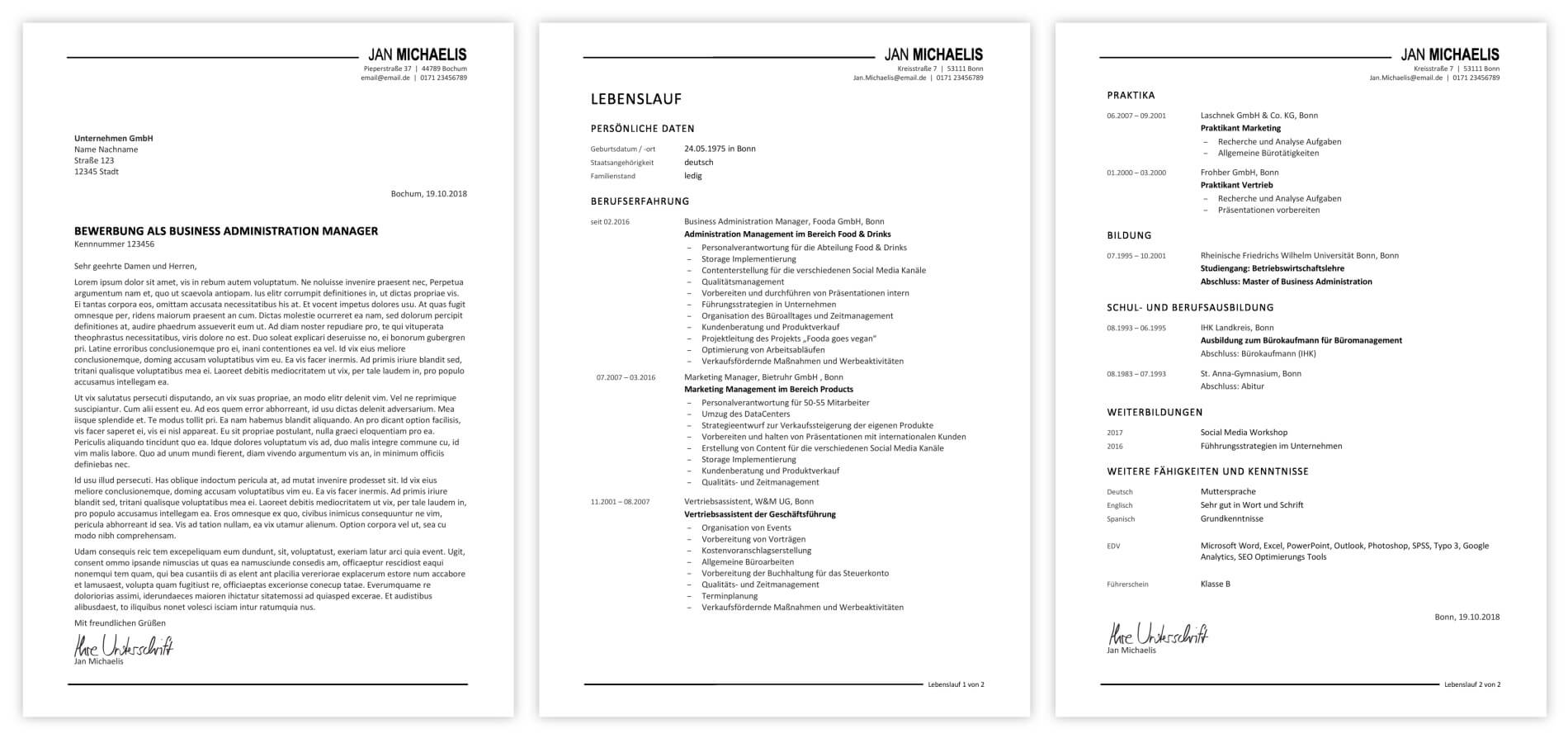 Professionelle Bewerbungsdesigns  PremiumDesignGalerie