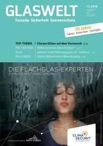 Das Cover der GLASWELT-Ausgabe 12/2018, in dem der kritische Kommentar zum Forschungsvorhaben vom ift Rosenheim von Ulrike Jocham, der Frau Nullschwelle, erschienen ist